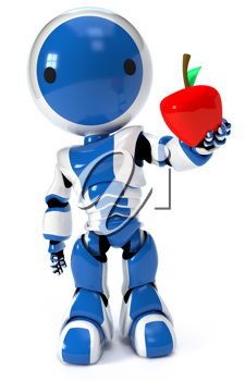 Royalty Free Clipart Image of a Blue Robot Holding an Appetizing Apple out to the Audience/Viewer.
