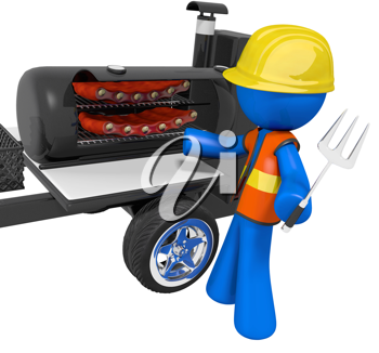 Royalty Free Clipart Image of a Blue Man Barbecuing Ribs