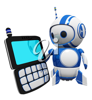 Royalty Free Clipart Image of a Robot Holding a Cell Phone