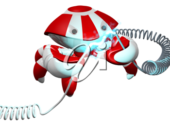 Royalty Free Clipart Image of a Robot Crab Holding a Cord with Electrical Current