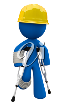 Royalty Free Clipart Image of a Blue Man Wearing a Hard Hat and Walking with Crutches