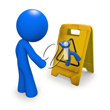 Royalty Free Clipart Image of a Blue Man Looking at a Danger Sign
