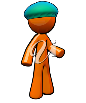 Royalty Free Clipart Image of an Orange Man Doctor