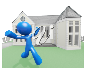 Royalty Free Clipart Image of a Happy Blue Man in Front of a House