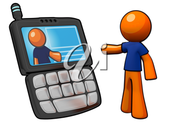 Royalty Free Clipart Image of an Orange Man on a PDA phone.