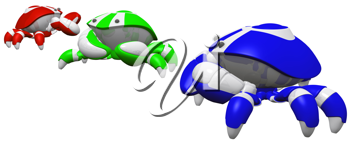 Royalty Free Clipart Image of a Group of Robot Crabs