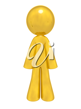 A lone gold man standing up ready to do your bidding, aiding your design.