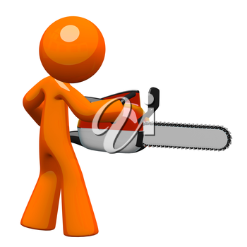 3d Orange Man holding a chain saw, viewed from back.