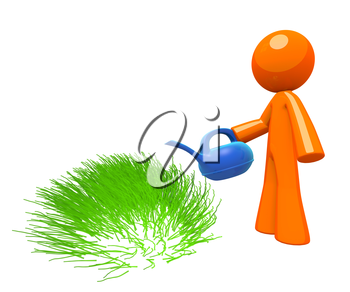 3d Orange Man watering grass, simple minimalistic concept in gardening and maintenance.