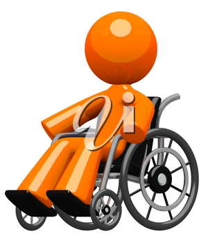Disability, impairment, or hospital visit concept. An orange man in a wheel chair, moving about independently with confidence and increasing wellness.