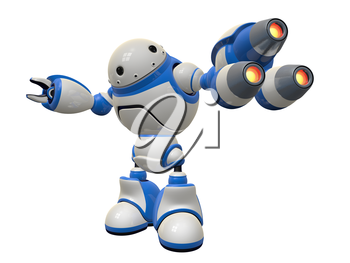 Fictional concept in internet security. A robot three plasma guns at possible spyware or virus.