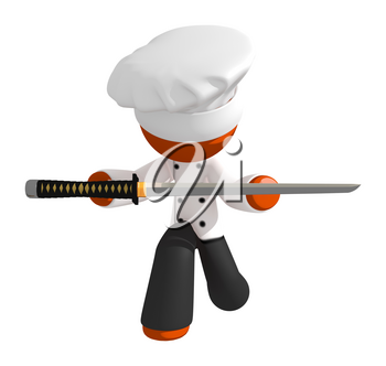 Orange Man chef bowing presenting ninja sword as trophy in a food competition.