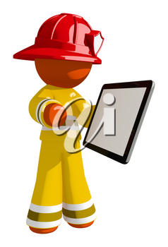 Orange Man Firefighter with Tablet and Blank Space