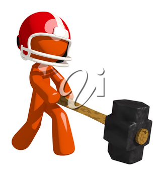 Football player orange man crushing his competition with a sledge hammer.