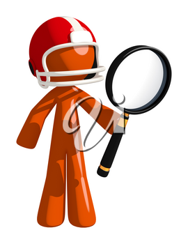 Football player orange man holding giant magnifying glass looking at something.