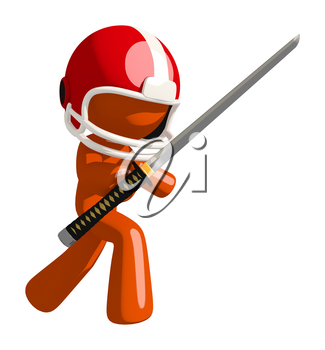Football player orange man holding a ninja sword standing in a threatening defense pose.