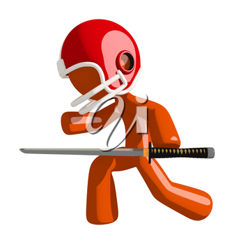 Football player orange man holding a ninja sword stabbing the competition.