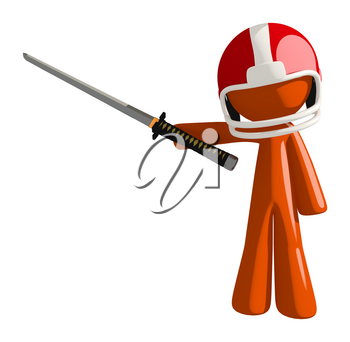 Football player orange man player holding a ninja sword pointing with his sword.