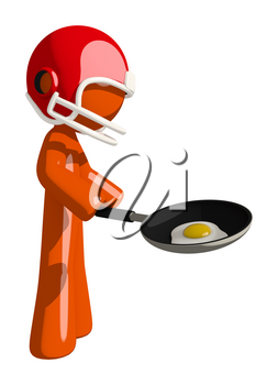Football player orange man frying an egg.