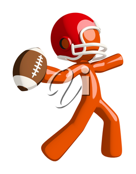 Football player orange man throwing a football in that familiar hero stance.