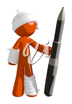 Personal Injury Victim Standing Confident with Huge Pen