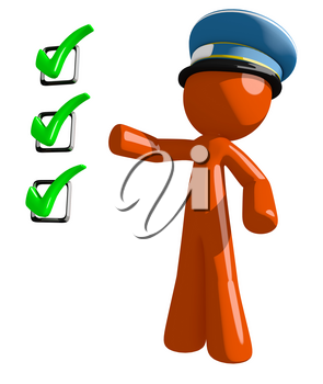 Orange Man postal mail worker  Pointing Green Checkmark List