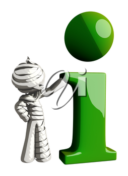 Mummy or Personal Injury Concept Beside a Large Green Info Symbol