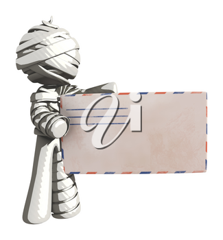 Mummy or Personal Injury Concept Holding a Large Letter or Envelope