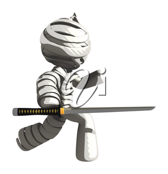 Mummy or Personal Injury Concept Jabbing With Ninja Sword