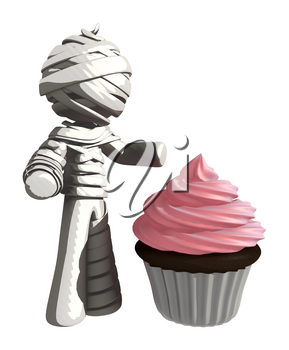 Mummy or Personal Injury Concept with Large Cupcake