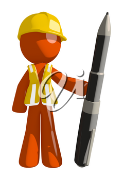 Orange Man Construction Worker  Holding Giant Pen