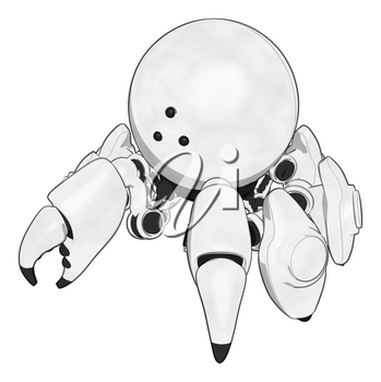Robotics Mascot Crab Standing Passively with Claws toward Ground