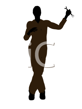 Royalty Free Clipart Image of a Female Mechanic