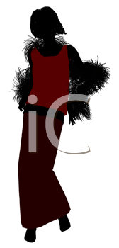 Royalty Free Clipart Image of a Woman in a Long Skirt With a Boa