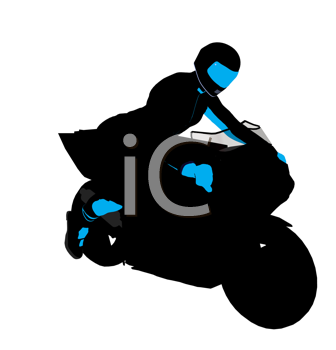 Royalty Free Clipart Image of a Person on a Motorbike