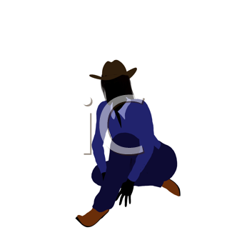 Royalty Free Clipart Image of a Girl in a Cowboy Hat