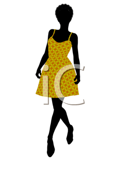 Royalty Free Clipart Image of a Woman in a Sundress
