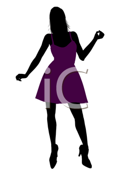Royalty Free Clipart Image of a Woman in a Cocktail Dress