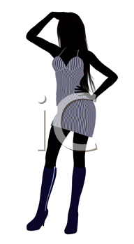 Royalty Free Clipart Image of a Girl in a Striped Sundress