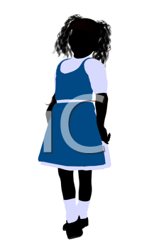 Royalty Free Clipart Image of a Girl in a Blue Jumper