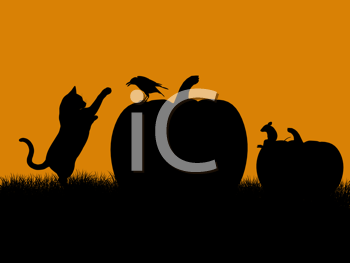 Royalty Free Clipart Image of Pumpkins, a Cat, Raven, and Mouse
