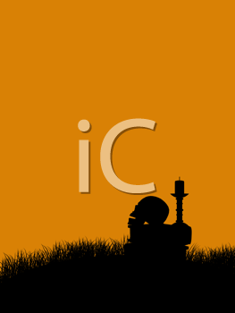 Royalty Free Clipart Image of a Book, Skull and Candle