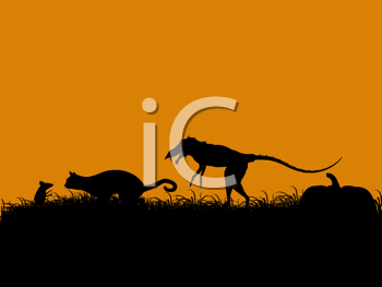 Royalty Free Clipart Image of a a Mouse, Cat and Dinosaur on an Orange Background