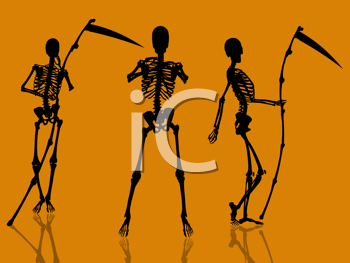 Royalty Free Clipart Image of Skeletons and Scythes