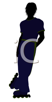 Royalty Free Clipart Image of a Guy on Roller Blades