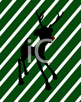 Royalty Free Clipart Image of Rudolph on a Green Striped Background