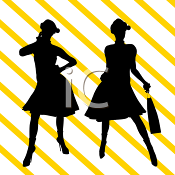 Royalty Free Clipart Image of Two Shoppers on a Striped Background