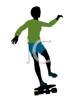 Royalty Free Clipart Image of a Boy on a Skateboard