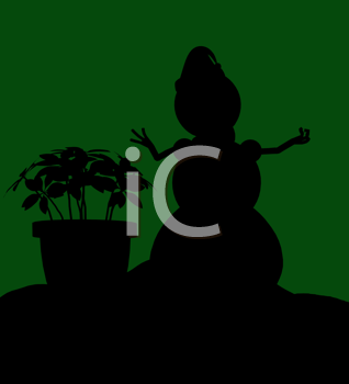 Royalty Free Clipart Image of a Snowman and Poinsettia on Green