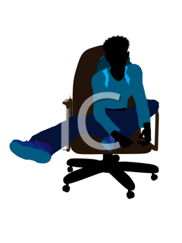 Royalty Free Clipart Image of a Teenager in an Office Chair